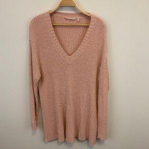 Soft Surroundings Peach Knit Oversized Sweater Rib